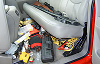 duha or du-ha under the seat storage organizer and gun case for pickup trucks.